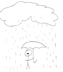 Short and Sweet Man under umbrella in the rain