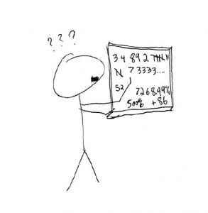 Statistics 101 Man at chalkboard